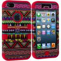 Apple iPhone 5/5S/SE Red Tribal Hybrid Tuff Hard/Soft 3-Piece Case Cover Angle 2
