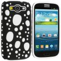 Samsung Galaxy S3 Black / White Hybrid Bubble Hard/Soft Skin Case Cover Angle 2