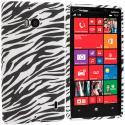 Nokia Lumia 929 Icon Black White Zebra TPU Design Soft Case Cover Angle 1