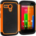 Motorola Moto G Black / Orange Hybrid Rugged Hard/Soft Case Cover Angle 1