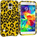 Samsung Galaxy S5 Black Leopard on Golden 2D Hard Rubberized Design Case Cover Angle 1