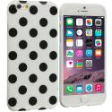 Apple iPhone 6 Plus 6S Plus (5.5) White / Black TPU Polka Dot Skin Case Cover Angle 1