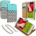 LG G2 Sprint, T-Mobile, At&t Mint Green Zebra Leather Wallet Pouch Case Cover with Slots Angle 1