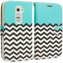 LG G2 Sprint, T-Mobile, At&t Mint Green Zebra Leather Wallet Pouch Case Cover with Slots Angle 2