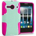 Alcatel One Touch Evolve 2 Hot Pink / Mint Green Hybrid Mesh Hard/Soft Case Cover Angle 1