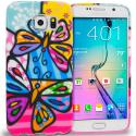 Samsung Galaxy S6 Edge Rainbow Butterfly TPU Design Soft Rubber Case Cover Angle 1