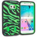 Samsung Galaxy S6 Black Green Hybrid Zebra Hard/Soft Case Cover Angle 1