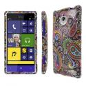 HTC 8XT - Black Paisley MPERO SNAPZ - Rubberized Case Cover Angle 1