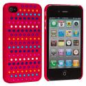Apple iPhone 4 / 4S Rainbow Red Hard Rubberized Back Cover Case Angle 2