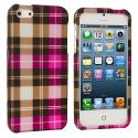 Apple iPhone 5/5S/SE Hot Pink Checkered Hard Rubberized Design Case Cover Angle 1