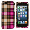 Apple iPhone 5/5S/SE Hot Pink Checkered Hard Rubberized Design Case Cover Angle 2