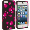 Apple iPhone 5/5S/SE Raining Hearts Hard Rubberized Design Case Cover Angle 1