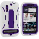 Motorola Photon 4G MB855 White / Purple Hybrid Heavy Duty Hard/Soft Case Cover with Stand Angle 3
