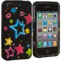 Apple iPhone 4 / 4S Colorful Shooting Star Hard Rubberized Design Case Cover Angle 1