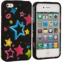 Apple iPhone 4 / 4S Colorful Shooting Star Hard Rubberized Design Case Cover Angle 2