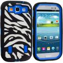 Samsung Galaxy S3 Black / Blue Zebra Hybrid Zebra 3-Piece Case Cover Angle 1
