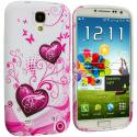 Samsung Galaxy S4 Pink Heart on White TPU Design Soft Case Cover Angle 1