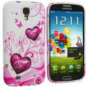 Samsung Galaxy S4 Pink Heart on White TPU Design Soft Case Cover Angle 2