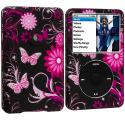 Apple iPod Classic Pink Butterfly Flower Hard Rubberized Design Case Cover Angle 1