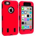 Apple iPhone 5C Red / Black Hybrid Deluxe Hard/Soft Case Cover Angle 1