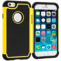 Apple iPhone 6 6S (4.7) Black / Yellow Hybrid Rugged Hard/Soft Case Cover Angle 1