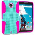 Motorola Google Nexus 6 Hot Pink / Mint Green Hybrid Mesh Hard/Soft Case Cover Angle 1