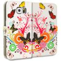 Samsung Galaxy S6 Autumn Flower Leather Wallet Pouch Case Cover with Slots Angle 2