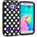 Samsung Galaxy S6 Polka Dot Purple Hybrid Deluxe Hard/Soft Case Cover Angle 1