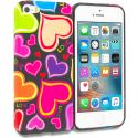 Apple iPhone 5/5S/SE Rainbow Hearts Black TPU Design Soft Rubber Case Cover Angle 1