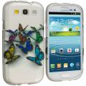 Samsung Galaxy S3 Butterfly Hard Rubberized Design Case Cover Angle 1