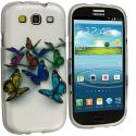 Samsung Galaxy S3 Butterfly Hard Rubberized Design Case Cover Angle 2