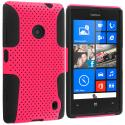 Nokia Lumia 520 Black / Hot Pink Hybrid Mesh Hard/Soft Case Cover Angle 1