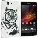 Sony Xperia Z White Tiger TPU Design Soft Case Cover Angle 1