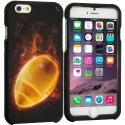 Apple iPhone 6 6S (4.7) Flaming Football 2D Hard Rubberized Design Case Cover Angle 1