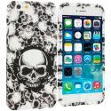 Apple iPhone 6 Plus 6S Plus (5.5) Black White Skulls TPU Design Soft Rubber Case Cover Angle 1