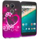 LG Google Nexus 5X Purple Love TPU Design Soft Rubber Case Cover Angle 1
