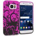 Samsung Galaxy S7 Black Purple Swirl TPU Design Soft Rubber Case Cover Angle 1