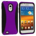 Samsung Epic Touch 4G D710 Sprint Galaxy S2 Black / Purple Hybrid Hard/TPU Case Cover Angle 1