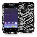 ZTE Avid 4G N9120 Black / White Zebra Hard Rubberized Design Case Cover Angle 1