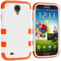 Samsung Galaxy S4 Orange / White Hybrid Tuff Hard/Soft 3-Piece Case Cover Angle 2