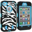 Apple iPhone 4 / 4S Baby Blue + Protector Hybrid Zebra 3-Piece Case Cover Angle 2