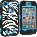 Apple iPhone 4 / 4S Baby Blue + Protector Hybrid Zebra 3-Piece Case Cover Angle 3