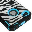 Apple iPhone 4 / 4S Baby Blue + Protector Hybrid Zebra 3-Piece Case Cover Angle 7