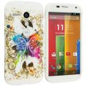 Motorola Moto G Colorful Butterfly TPU Design Soft Case Cover Angle 1
