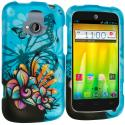 ZTE Radiant Butterfly Flower on Blue 2D Hard Rubberized Design Case Cover Angle 1