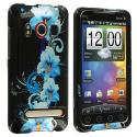 HTC EVO 4G Blue Flower Design Crystal Hard Case Cover Angle 1