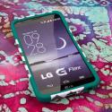 LG G Flex LS995 D950 D959 - Teal Chevron MPERO IMPACT X - Kickstand Case Angle 2