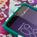 LG G Flex LS995 D950 D959 - Teal Chevron MPERO IMPACT X - Kickstand Case Angle 5