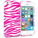 Apple iPhone 5/5S/SE Pink / White Zebra TPU Design Soft Rubber Case Cover Angle 1