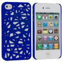 Apple iPhone 4 / 4S Dark Blue Birds Nest Hard Rubberized Back Cover Case Angle 1